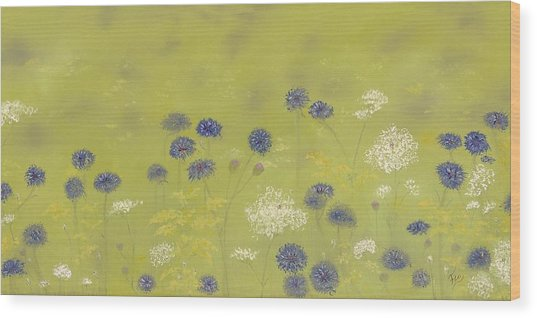Cornflowers And Queen Anne's Lace Wood Print