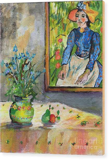 Cornflowers In French Pottery And Van Gogh Painting On Wall Wood Print
