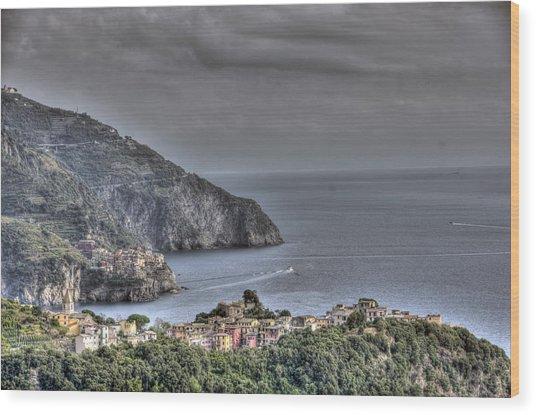 Corniglia And Manarola By The Sea Wood Print