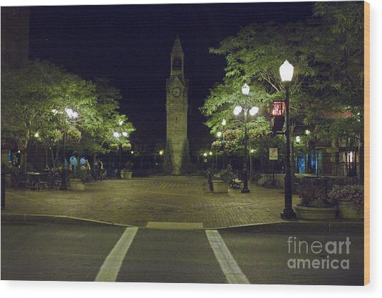 Corning Clock Tower Wood Print
