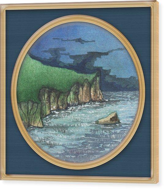 Cornwall Cliffs Wood Print