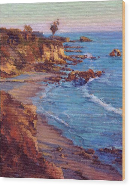 Wood Print featuring the painting Corona Del Mar by Konnie Kim