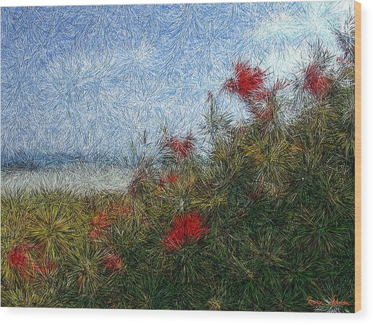 Coronado Beach Flowers Wood Print