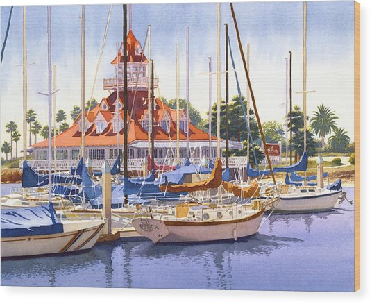 Coronado Boathouse Wood Print