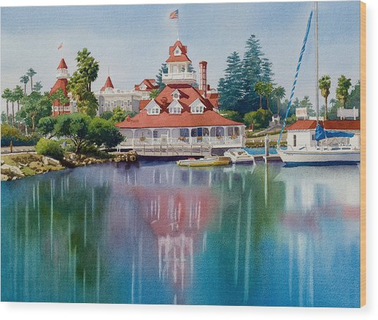 Coronado Boathouse Reflected Wood Print