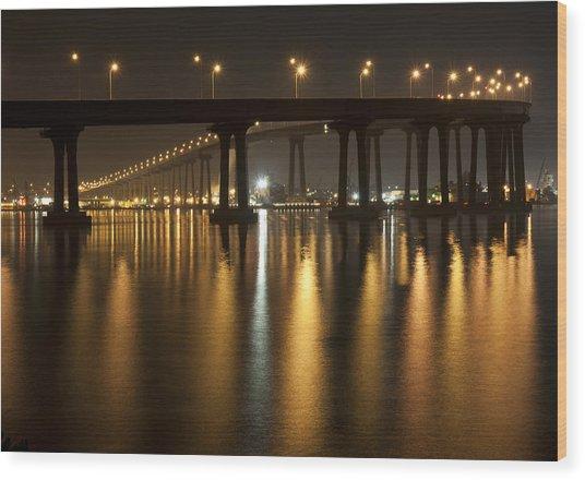 Coronado Bridge At Night Wood Print