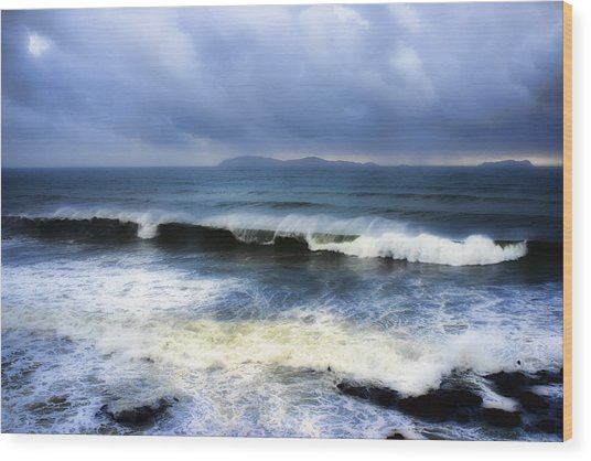 Coronado Islands In Storm Wood Print