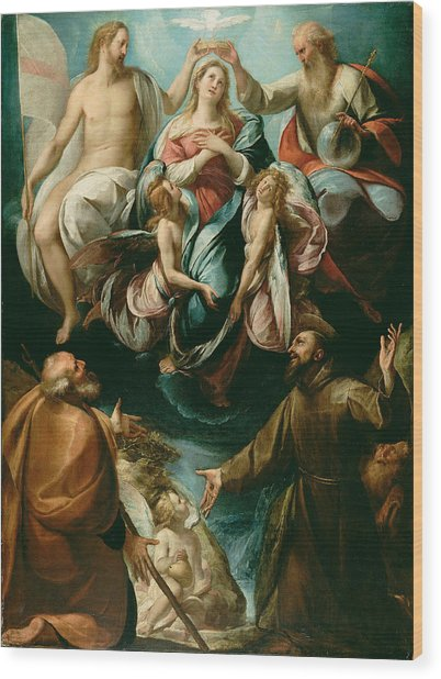 Coronation Of The Virgin With Saints Joseph And Francis Of Assisi Wood Print