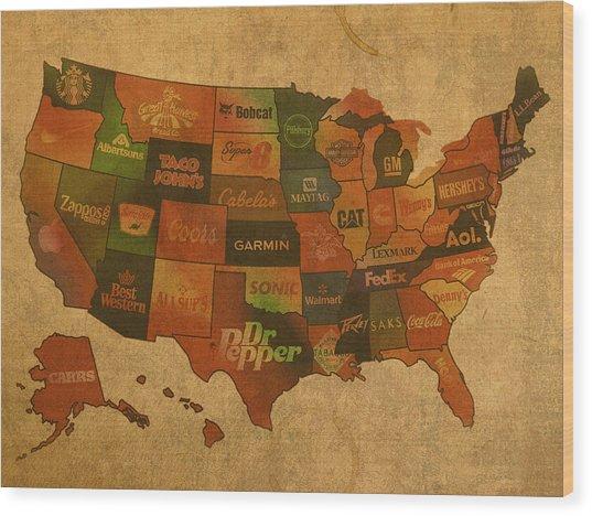 Corporate America Map Wood Print