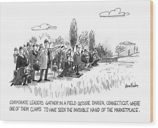 Corporate Leaders Gather In A Field Wood Print