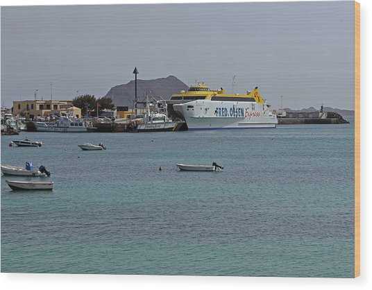 Corralejo Harbour Wood Print