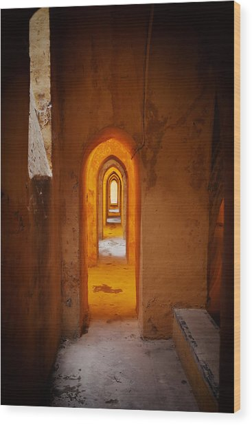 Corridor In The Real Alcazar Of Seville Wood Print