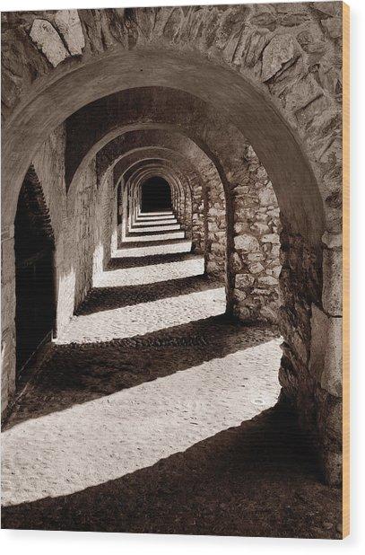 Corridors Of Stone Wood Print
