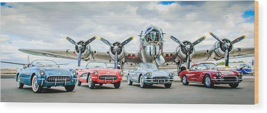 Corvettes With B17 Bomber Wood Print