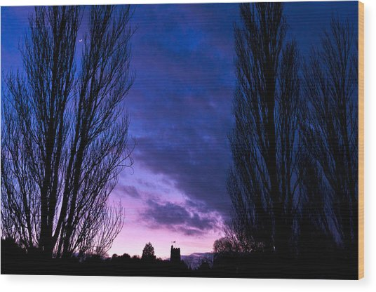 Cosgrove Sunset With Moon Wood Print