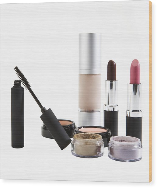 Cosmetics On White Background Wood Print by Thomas Northcut