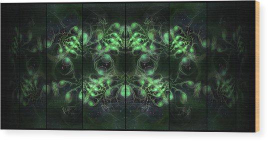 Wood Print featuring the digital art Cosmic Alien Eyes Green by Shawn Dall