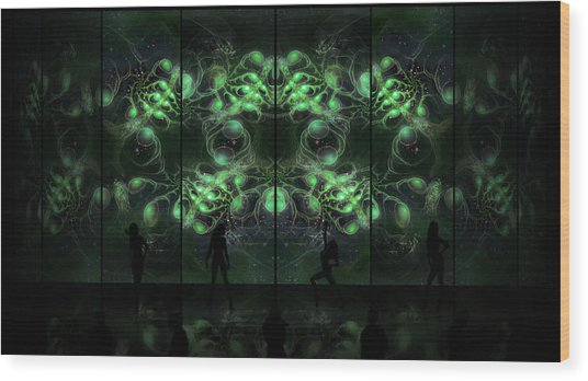 Wood Print featuring the digital art Cosmic Alien Vixens Green by Shawn Dall