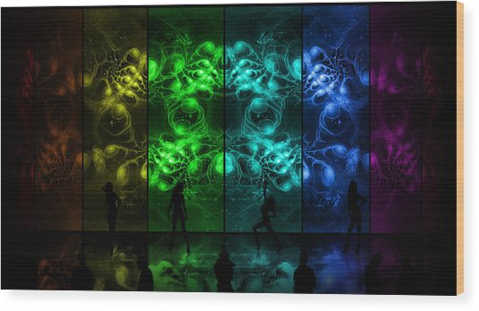 Wood Print featuring the digital art Cosmic Alien Vixens Pride by Shawn Dall
