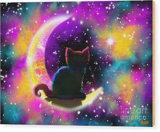 Cosmic Cat Wood Print
