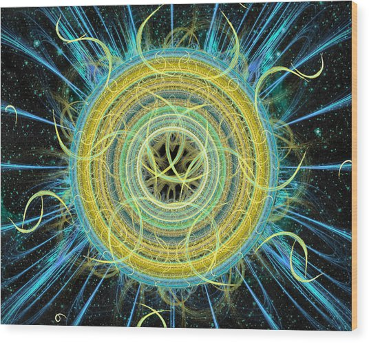 Wood Print featuring the digital art Cosmic Circle Fusion by Shawn Dall