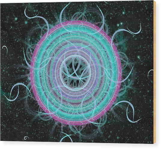 Wood Print featuring the digital art Cosmic Circle by Shawn Dall