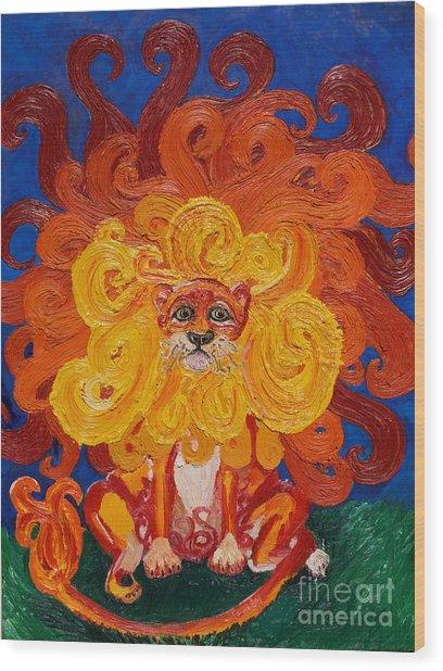 Cosmic Lion Wood Print