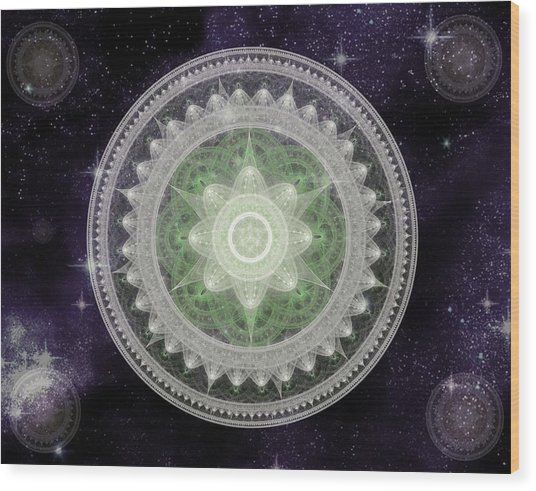 Cosmic Medallions Earth Wood Print