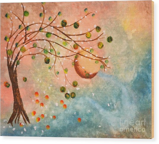 Cosmic Orb Tree Wood Print