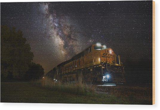 Cosmic Railroad Wood Print