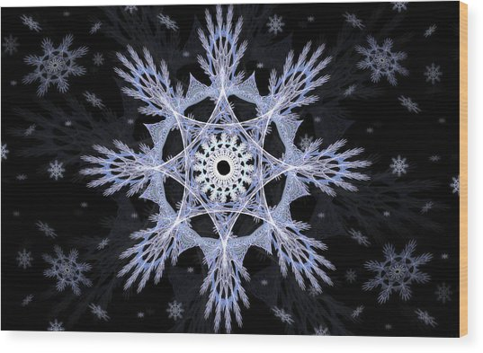 Wood Print featuring the digital art Cosmic Snowflakes by Shawn Dall