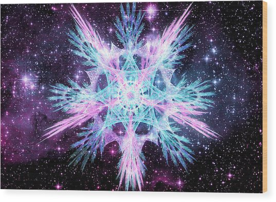 Cosmic Starflower Wood Print