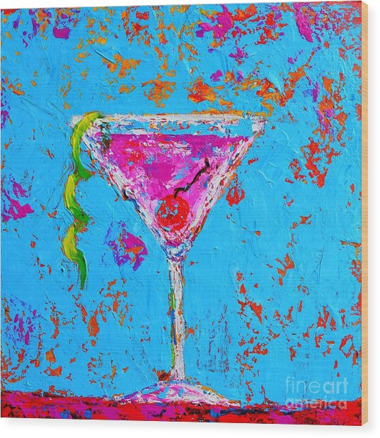Cosmopolitan Martini Cherry Flavored - Modern Art Wood Print