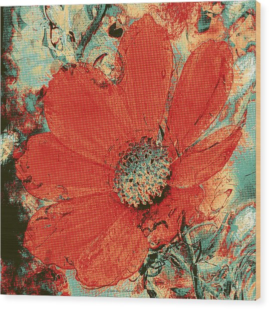 Cosmos Flower Colorized Halftone Wood Print