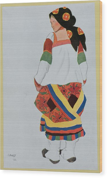 Costume Design For A Peasant Girl, 1922 Wood Print