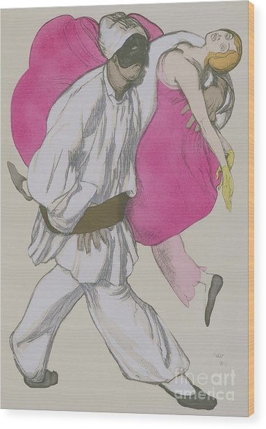 Costume Designs For Pamina And Monostatos In The Magic Flute Wood Print