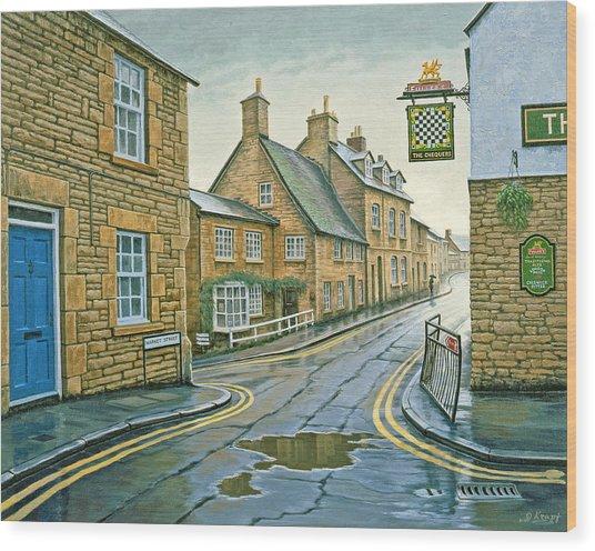 Cotswold Village-rainy Day Wood Print