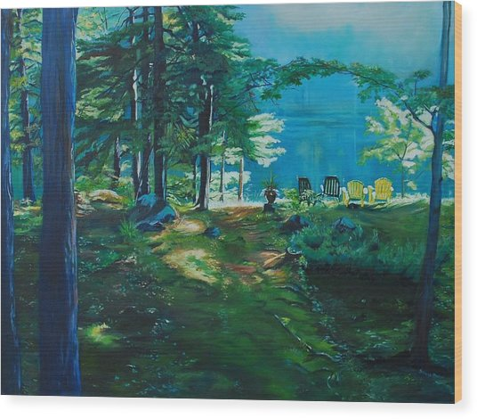 Cottage Deck View Wood Print
