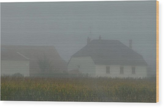 Cottage In Mist Wood Print