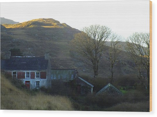 Cottage On Hillside Wood Print