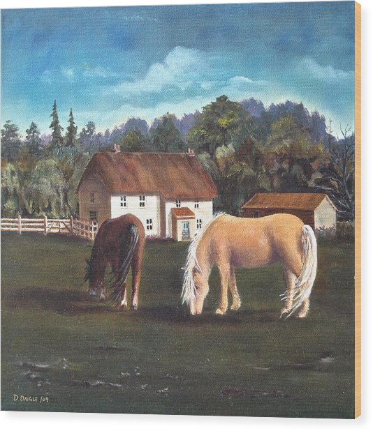 Cottage With Shetland Ponies Wood Print by Diane Daigle