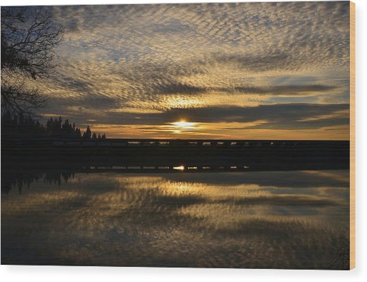 Cotton Ball Clouds Sunset Wood Print