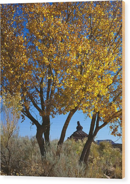 Cottonwood And Nipple Butte-v Wood Print