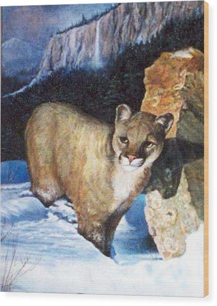 Cougar In Snow Wood Print