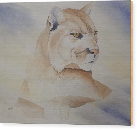 Cougar On Watch Wood Print