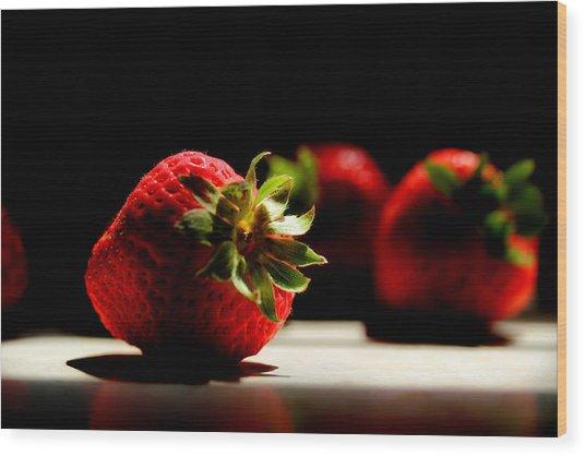 Countertop Strawberries Wood Print