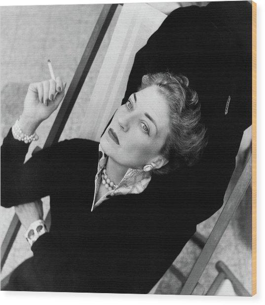 Countess Bismarck Smoking In Capri Wood Print