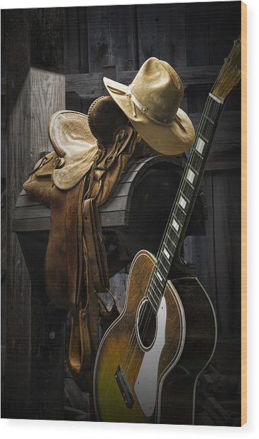 Country And Western Music Wood Print