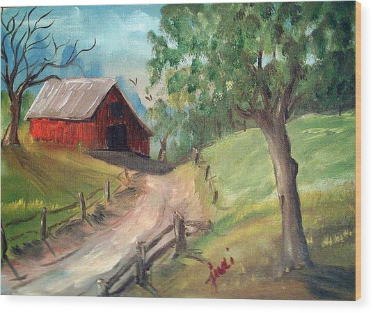 Country Barn Wood Print by Judi Pence
