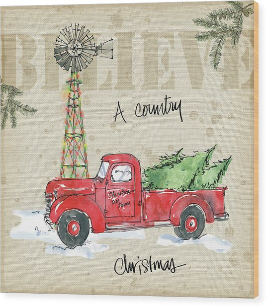 Country Christmas Iv Wood Print